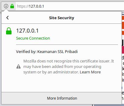 aman meskipun sertifikat tidak dikenal secara internal oleh aplikasi