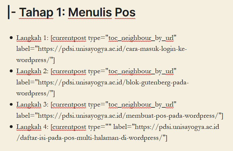 daftar isi pos lain menggunakan currentpost