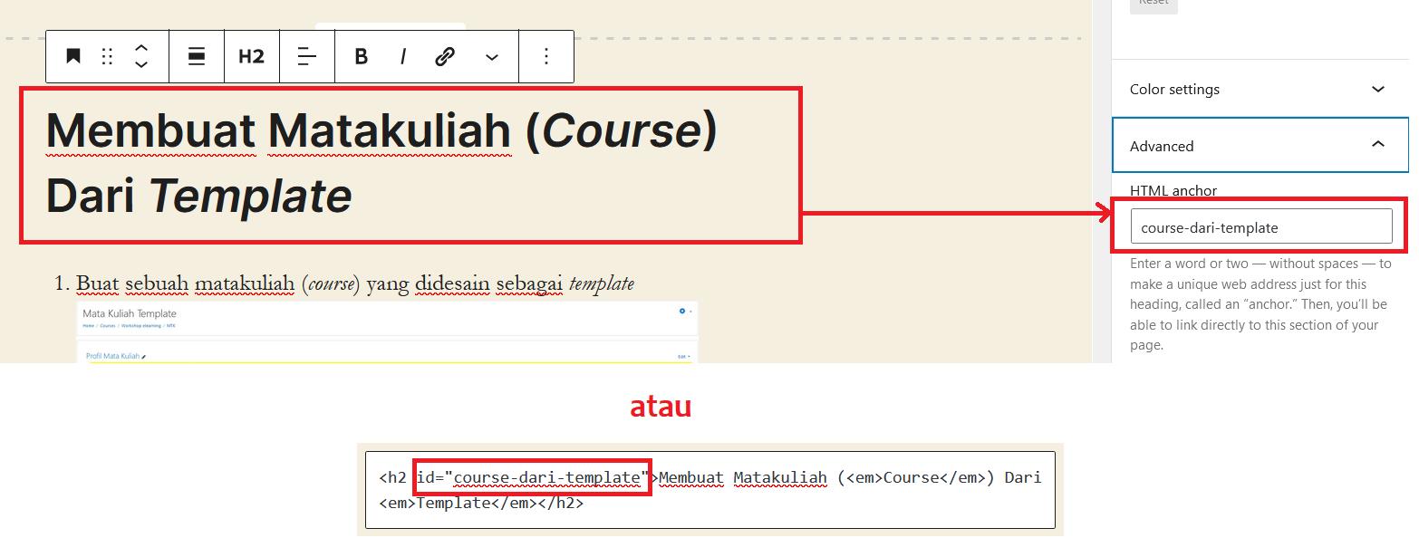 membuat html anchor dari heading