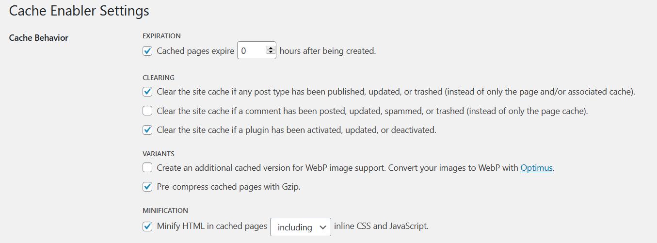 pengaturan cache enabler