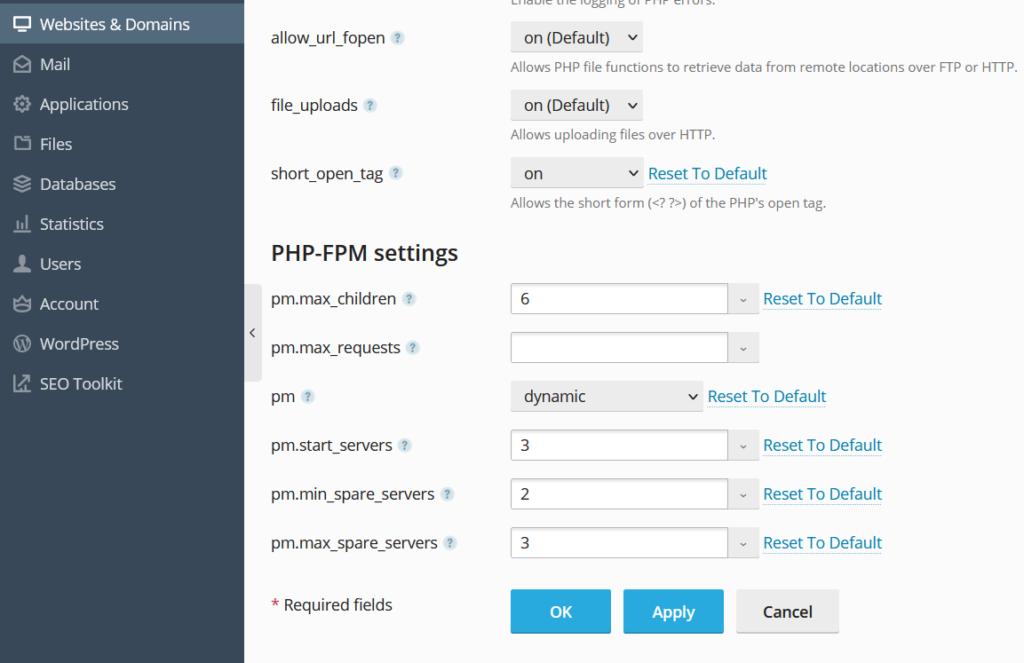 Pengaturan PHP-FPM pada server yang di-hosting