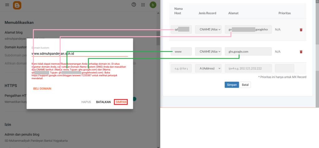 Atur DNS untuk domain kustom blogger